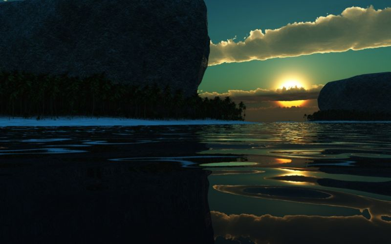 sunset ocean sea lake reflection wallpaper
