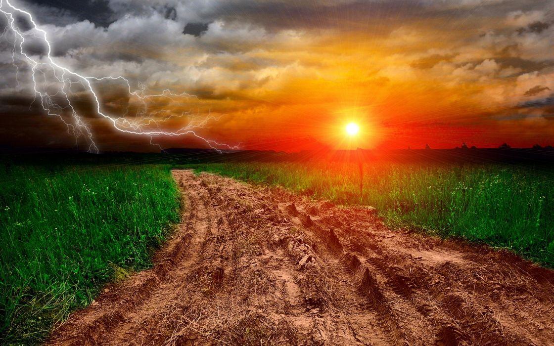 sunset lightning road landscape wallpaper