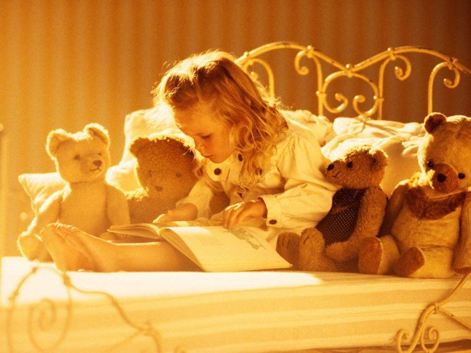 tale girl book book reading teddy bear teddy bear toy wallpaper
