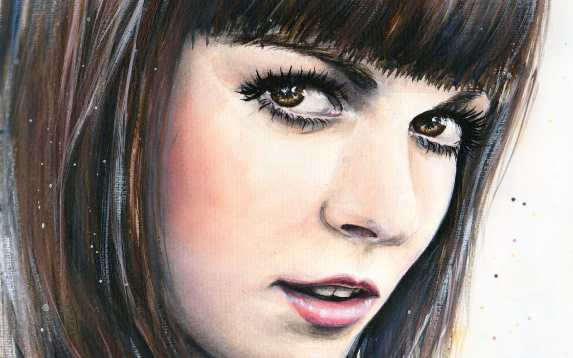 tanya shatseva painting girl eyes eyes hair bangs lips portrait wallpaper