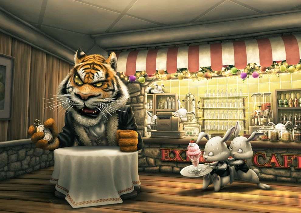 tiger rabbit the customer a cafe a table order ice cream watches cash waiters late wallpaper