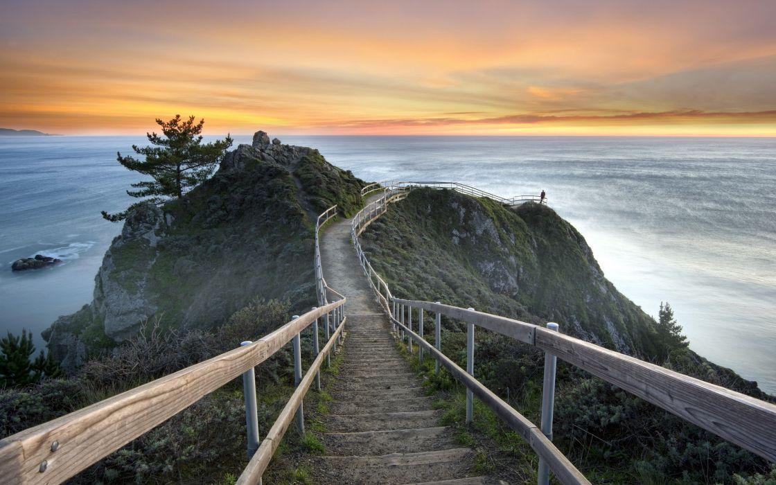 united states california mill valley sunset sea landscape ocean