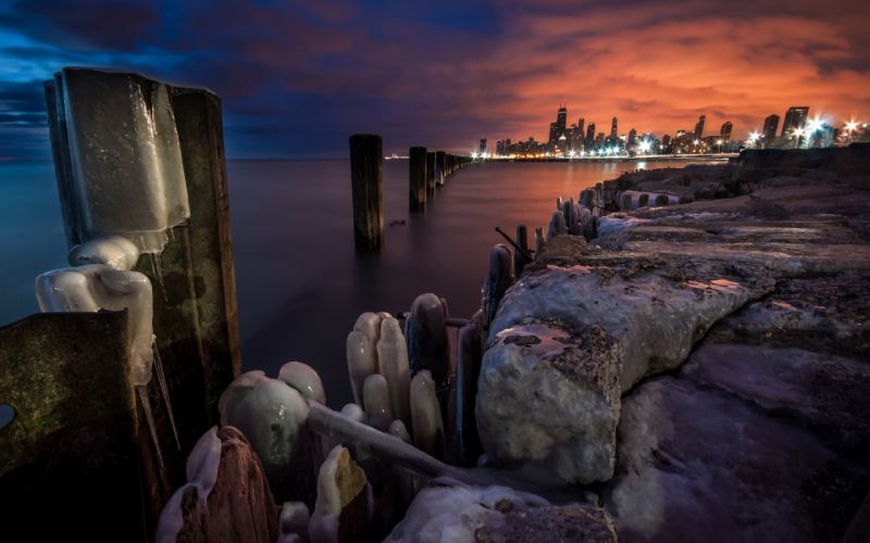 United States Illinois Chicago Mid-North District lakes winter ice beaches wallpaper