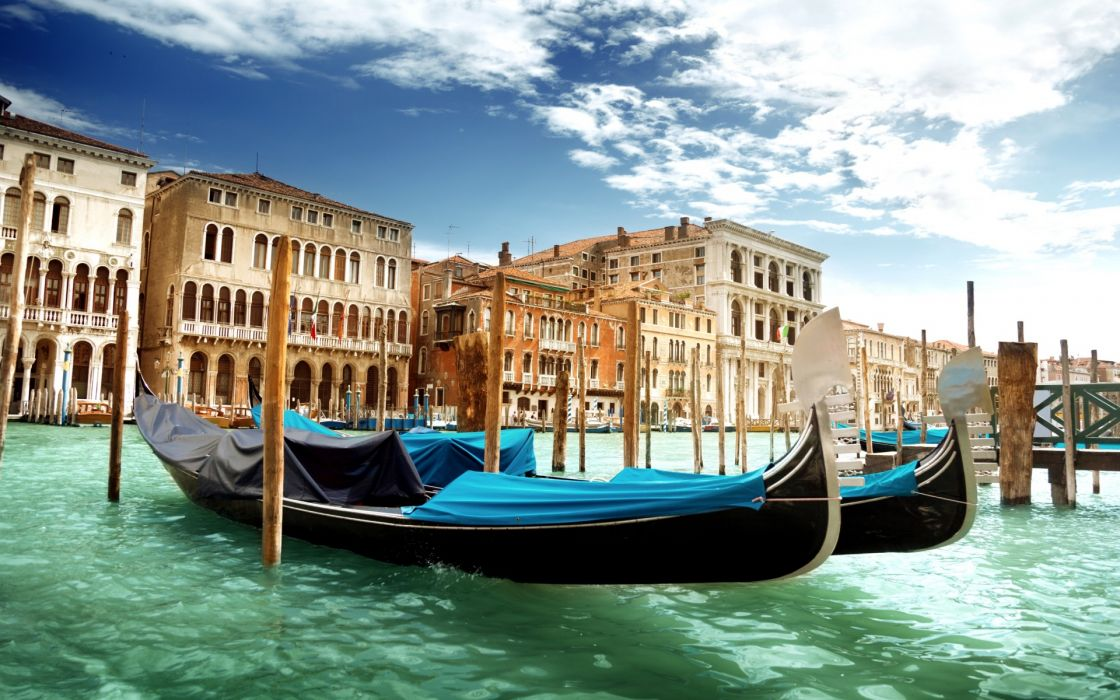 Venice Canal Grande Venice Italy the Grand Canal gondolas water green sea architecture sky clouds boats buildings wallpaper