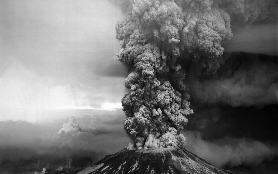 volcano mountain smoke wallpaper