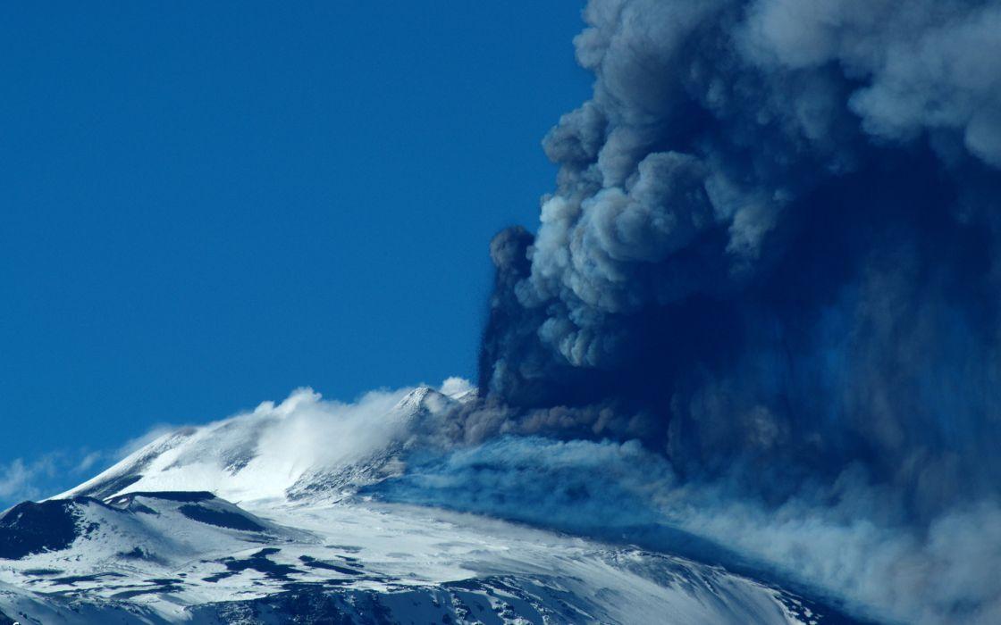 Volcano Eruption Smoke Blue mountains wallpaper