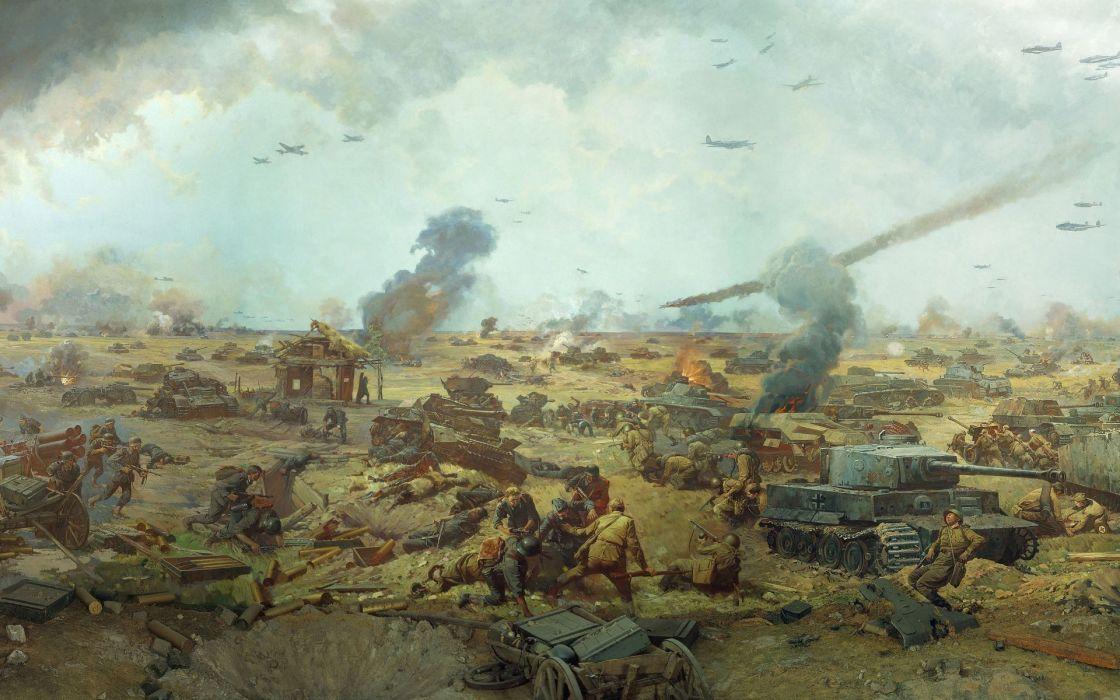 war massacre fight battle the second World War II the picture field soldiers Russian German tanks planes guns ammunition smoke fire wounded dead wallpaper