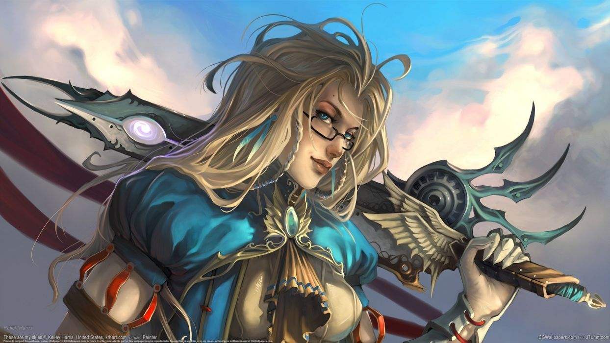 Warrior Glasses Blonde Sword wallpaper