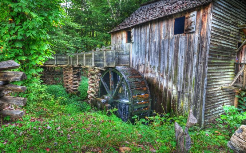 water mill nature landscape hdr wallpaper