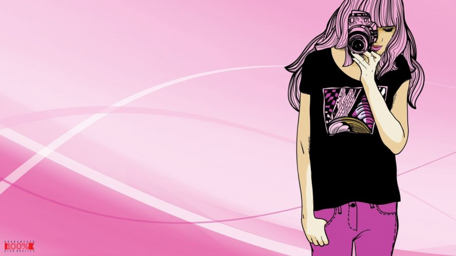 women pink vector fashion camera wallpaper
