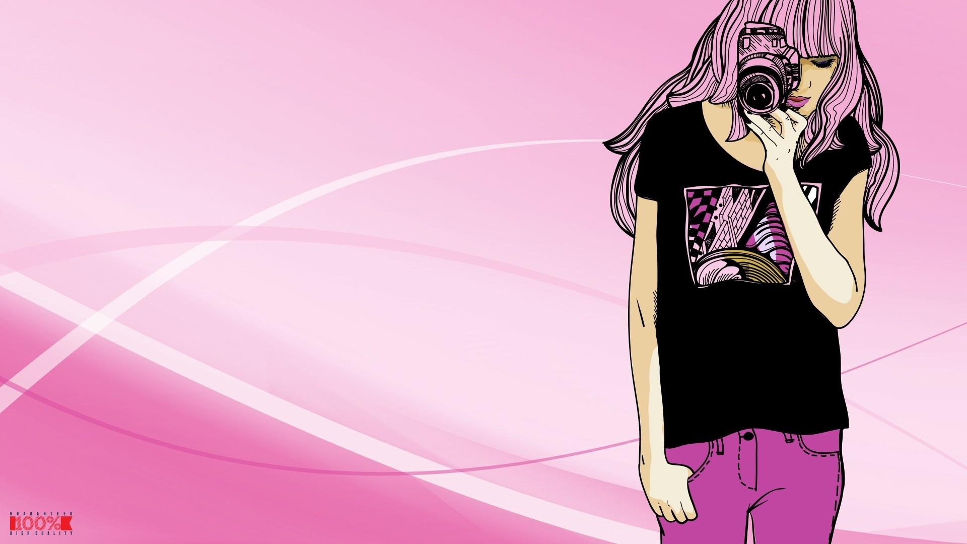 Women Pink Vector Fashion Camera Wallpaper