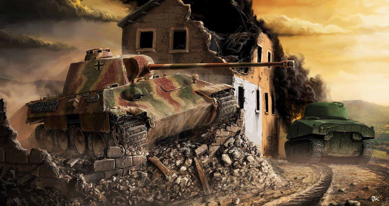 World of Tanks Tanks Ruins Painting Art Panther Sherman wallpaper