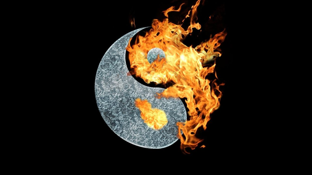 yin yang symbol fire wallpaper