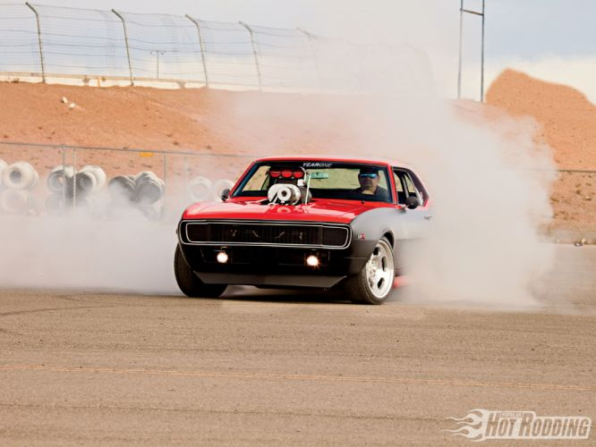 1968 Chevy Camaro hot rod blown blower engine muscle cars r wallpaper