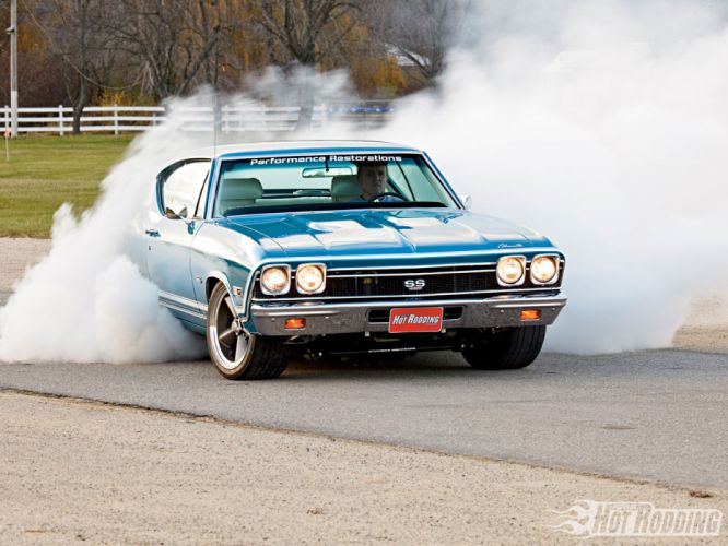 1968 Chevy Chevelle Ss muscle cars hot rod burnout smoke wallpaper