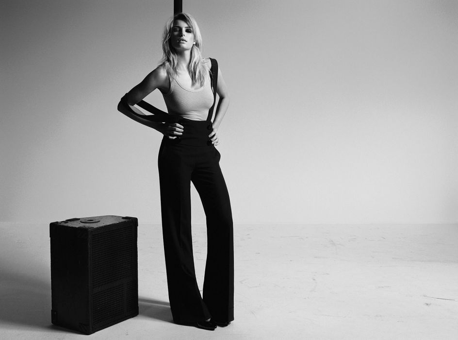 Jessica Hart blonde model women females girls fashion black white monochrome         m wallpaper