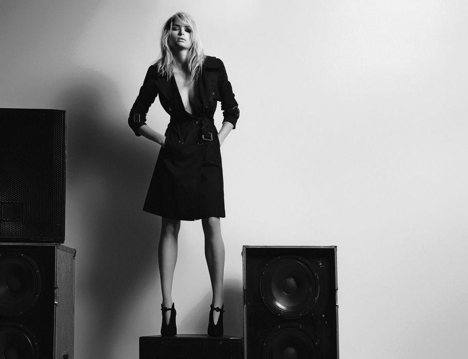 Jessica Hart blonde model women females girls fashion black white monochrome        k wallpaper