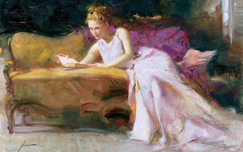 art painting blonde Pino dangelico book couch girl women females mood wallpaper