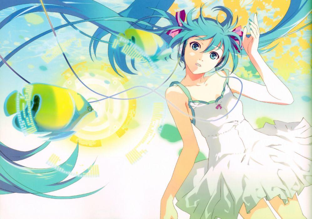 blue eyes blue hair dress hatsune miku headphones long hair twintails vocaloid wallpaper