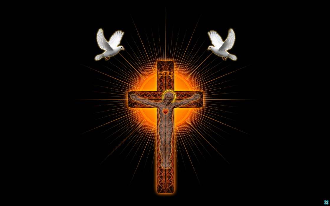 cross shrine pigeons 3d art religion catholic jesus doves birds symbols wallpaper