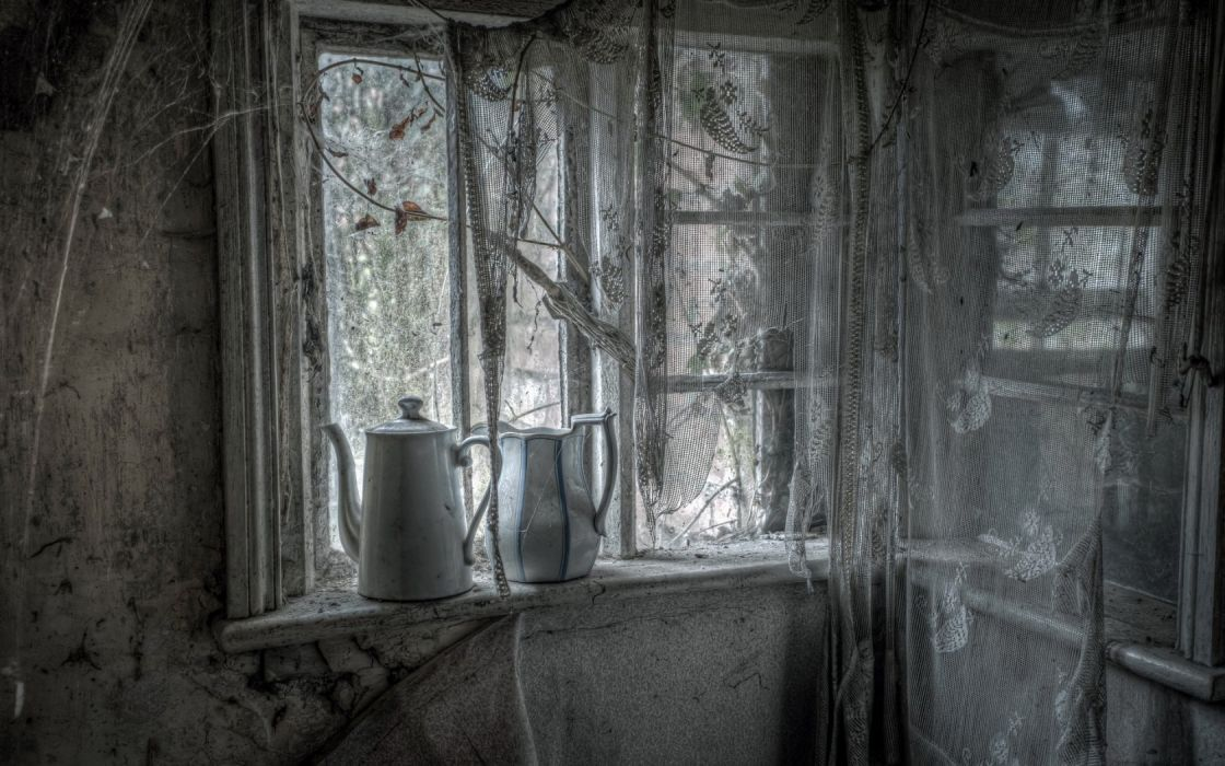 curtains window decay ruins room interior design dark wallpaper