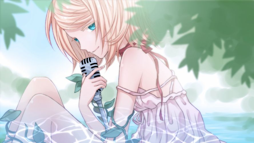 dress kagamine rin microphone ribbons summer dress vocaloid water yayoi (egoistic realism) wallpaper
