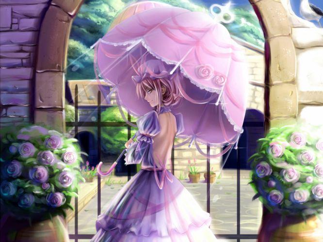 dress saber 01 touhou umbrella yakumo yukari wallpaper