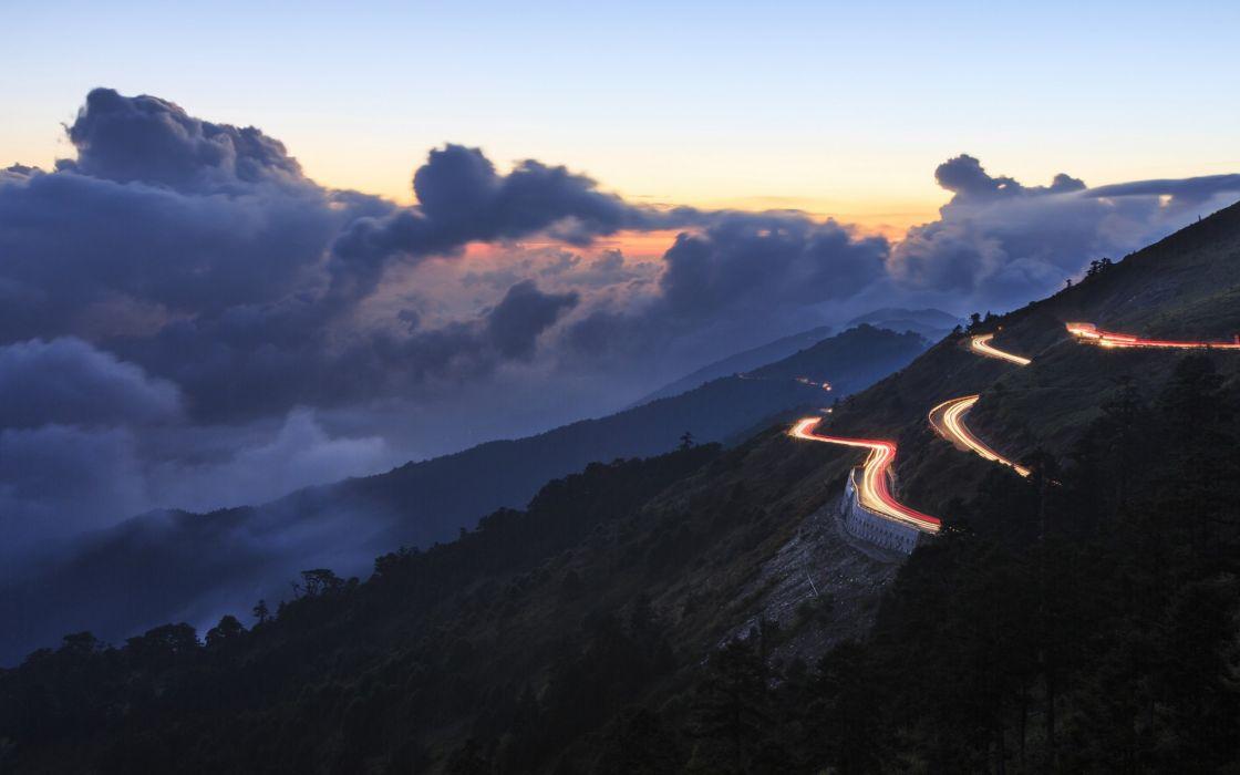 evening  hills  serpentine  road  lights  clouds  sky sunset landscape wallpaper