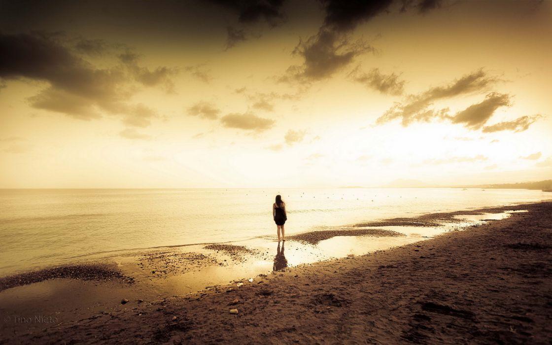 girl  sea  sunset ocean beaches reflection women female mood wallpaper