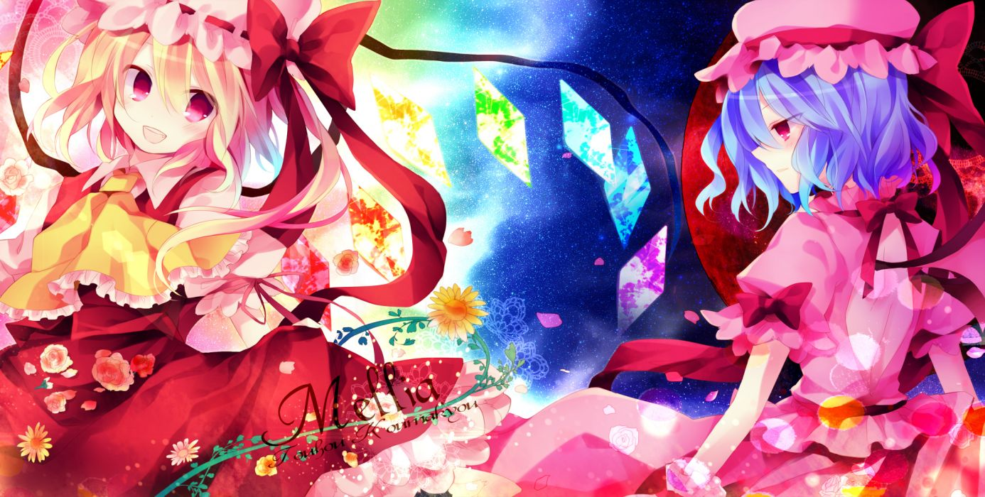 girls blonde hair blue hair bow dress flandre scarlet flowers hat ibara riato red eyes remilia scarlet ribbons touhou vampire wings wallpaper
