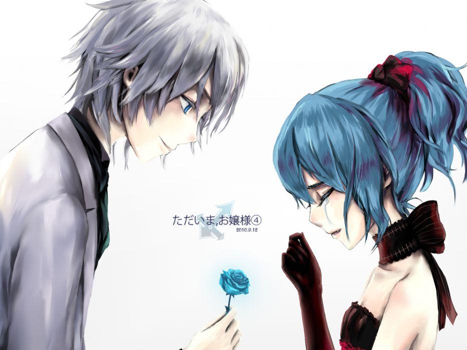 girls blue eyes blue hair dress flowers goocn gray hair izayoi sakuya maid ponytail remilia scarlet ribbons rose short hair touhou vampire white wallpaper