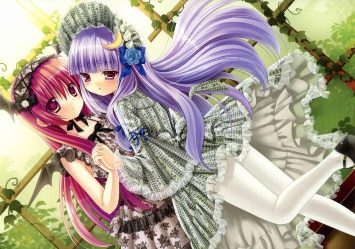 girls dress kino konomi koakuma lolita fashion long hair macchatei koeda pantyhose purple eyes purple hair red eyes red hair touhou wings wallpaper