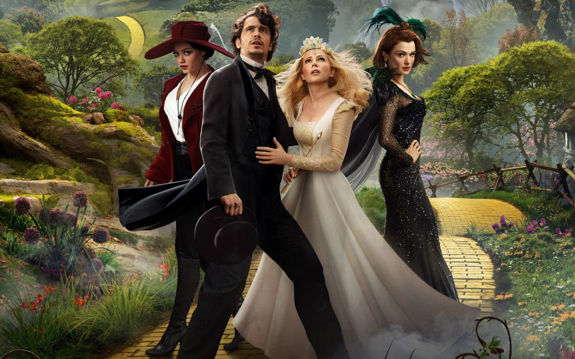 Oz The Great and Terrible  Oz The Great and Powerful  road  grass  four  James Franco  Mila Kunis  Rachel Weisz  Michelle Williams  a fairy tale wallpaper