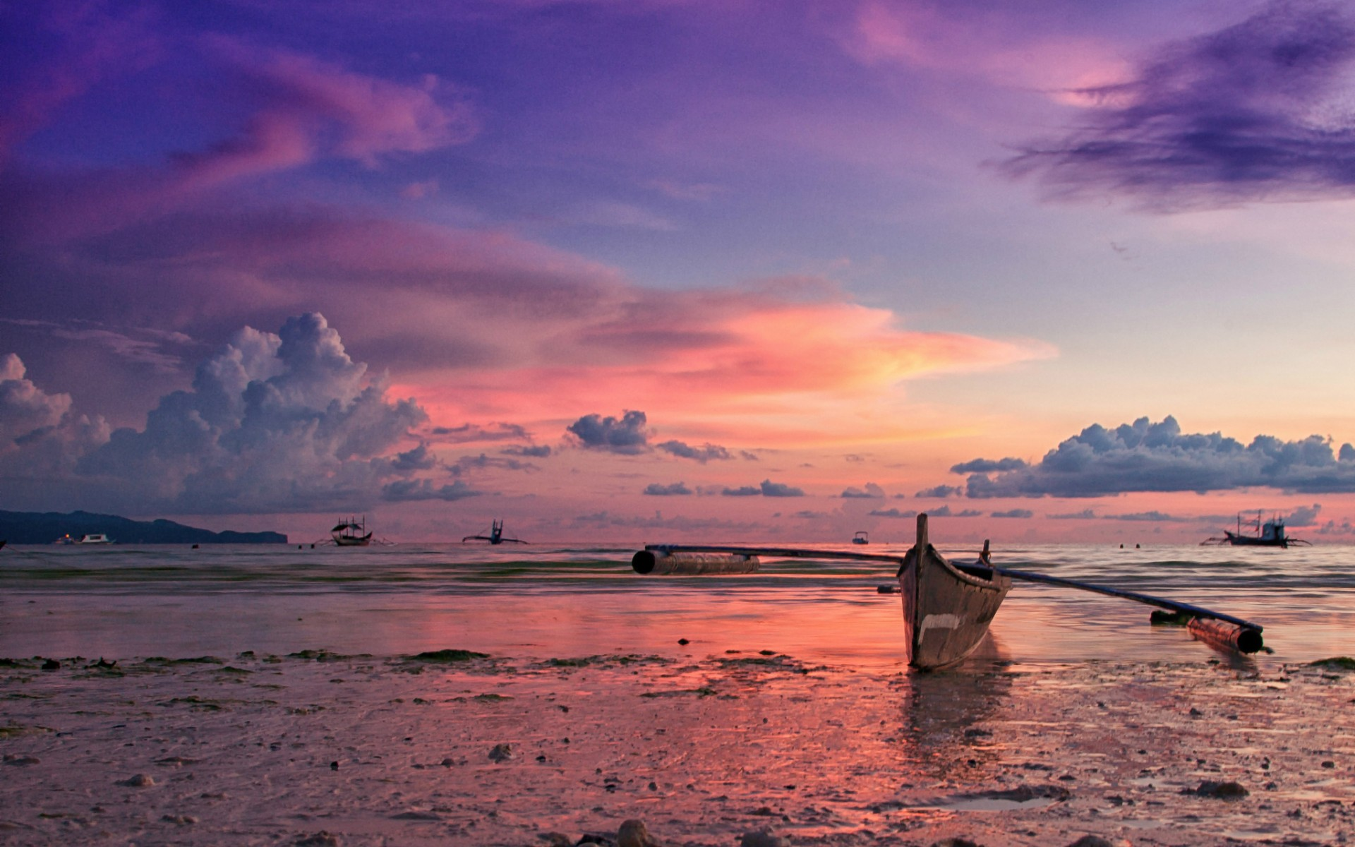 philippines island ocean beach boat evening sunset sky clouds