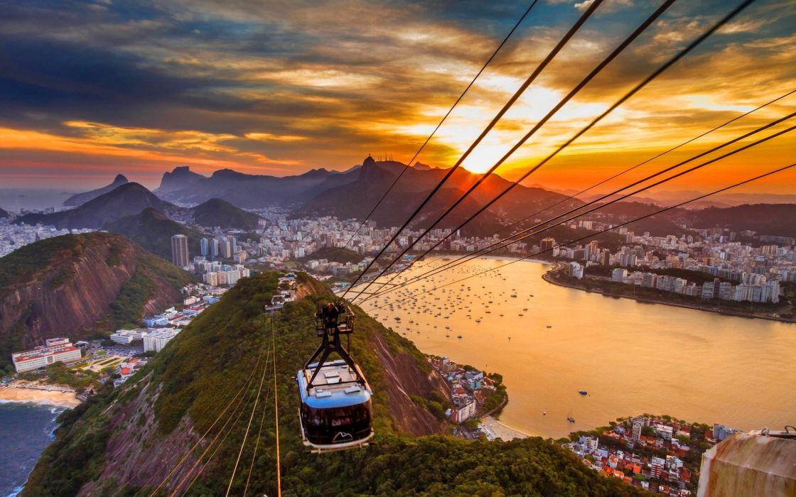 Rio de Janeiro Buildings Coast Sunset tram vehicles cities sunset sky clouds harbor mountains hills wallpaper