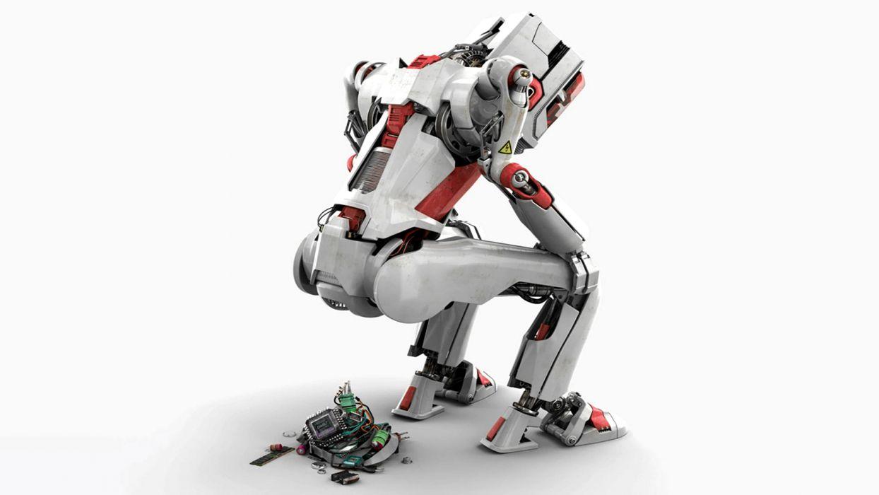 Robot White Parts sci-fi humor sadic wallpaper