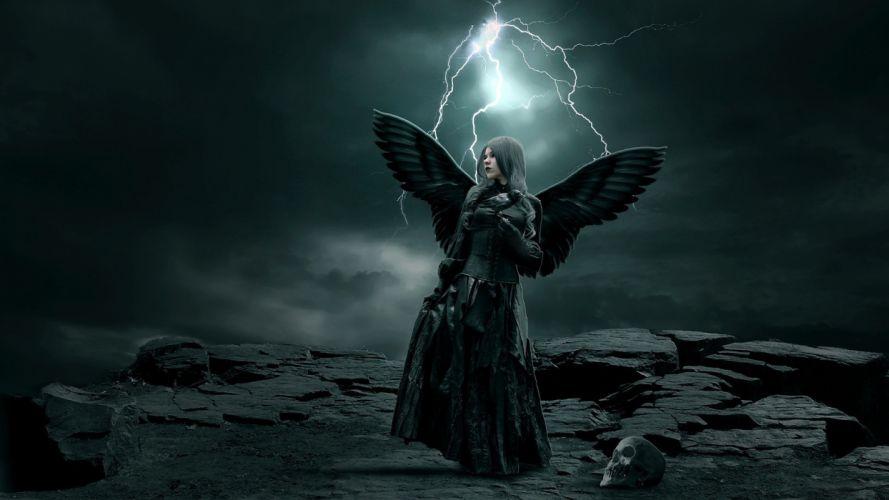 Rocks stones girl wings angel skull sky clouds LIGHTNING STORM dark gothic wallpaper