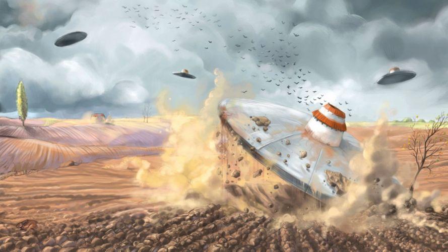 science fiction ufo spaceships spacecraft wallpaper
