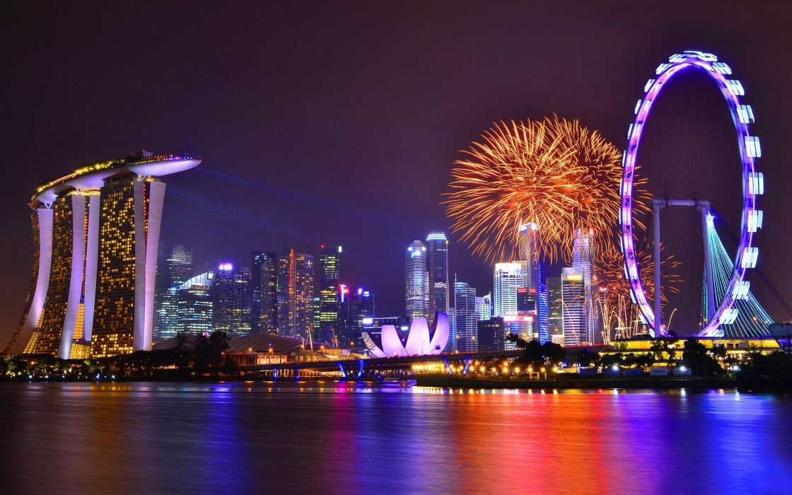 Singapore cities harbor reflection buildings skyscrapers fireworks ferris wheel night lights wallpaper