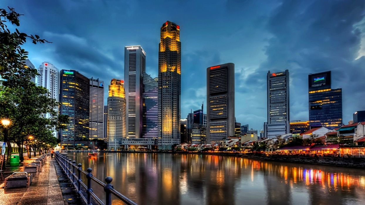 Singapore harbor buildings skyscrapers reflection wallpaper