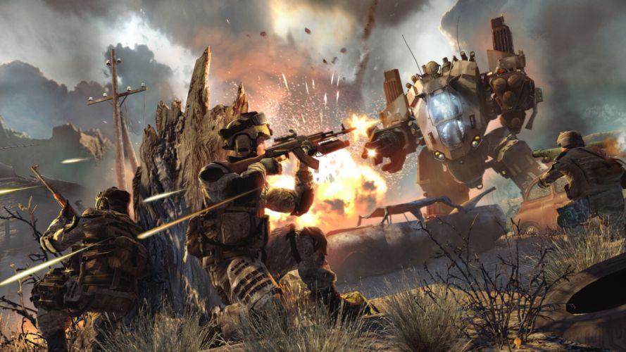 warface military weapons guns explosion fire mecha soldier wallpaper