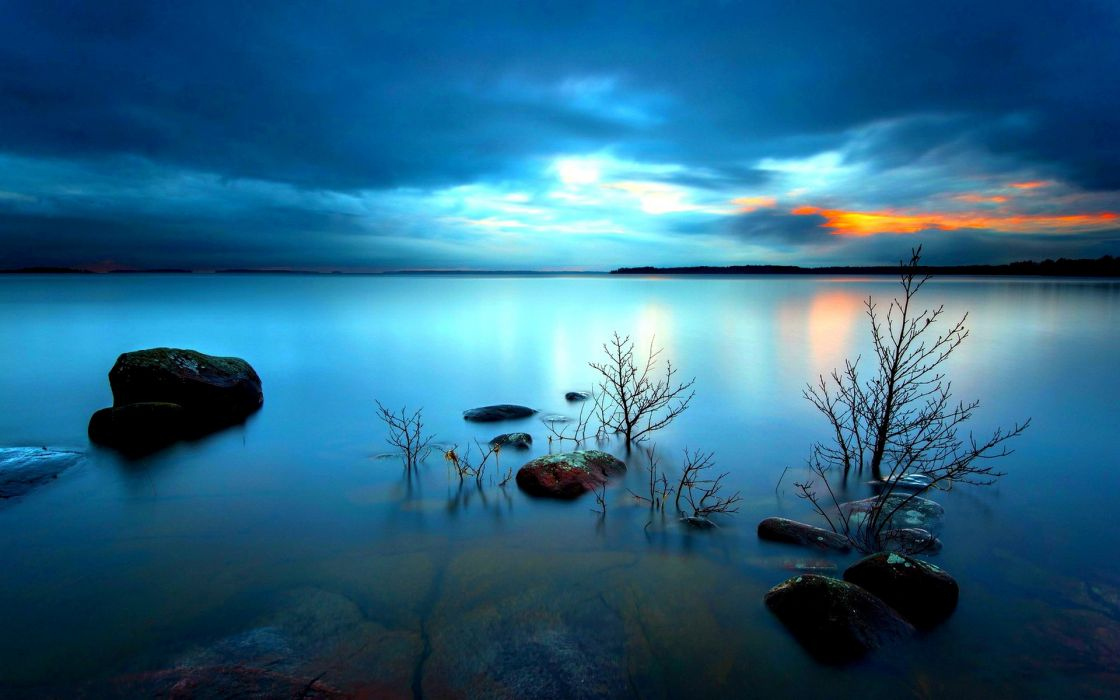 WATER iron stones distance horizon sky clouds dawn sunset reflection wallpaper