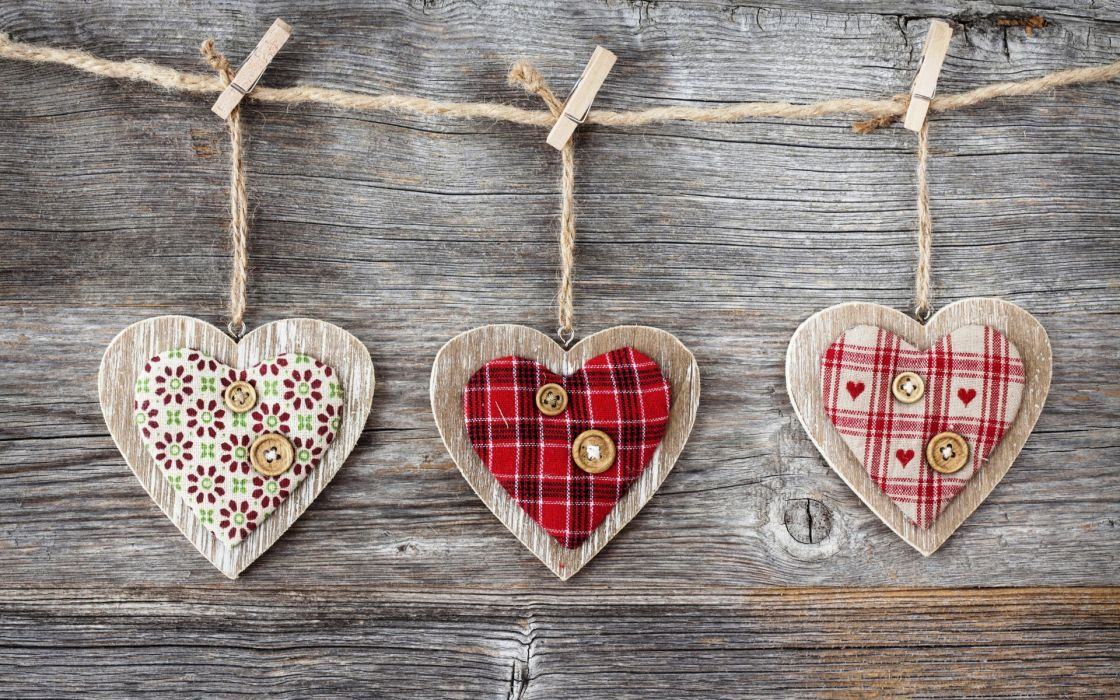 heart hearts wood fabric buttons clothespins rope love romance bokeh valentine's day wallpaper