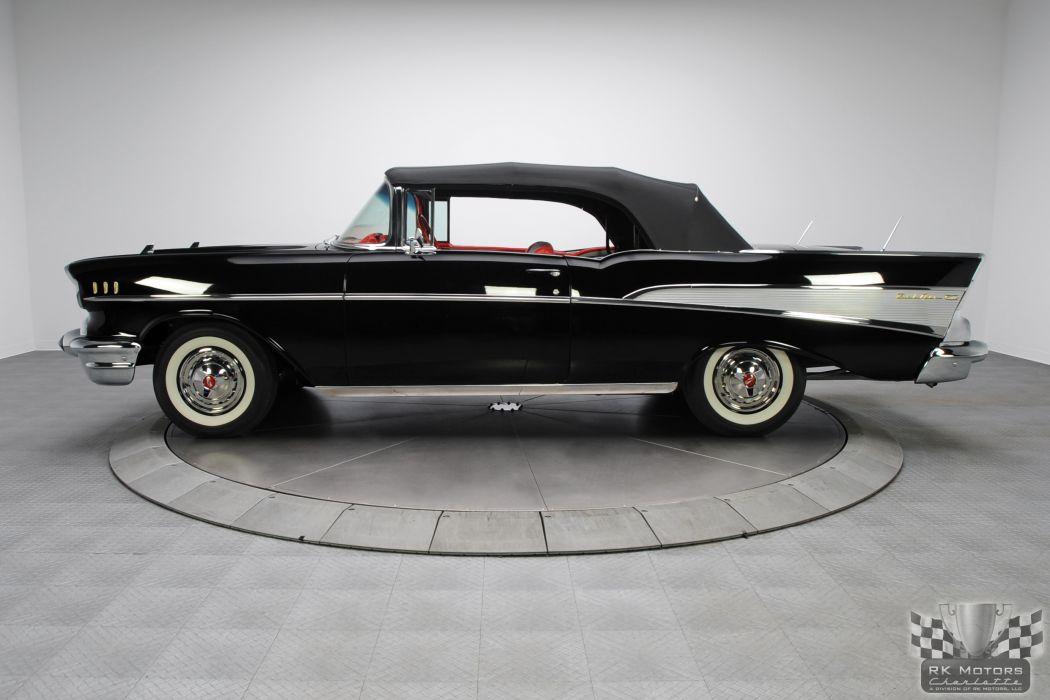 1957 CHEVROLET BEL AIR CONVERTIBLE 283 DUAL QUAD classic cars     w wallpaper