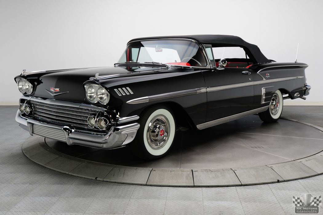 1958 CHEVROLET IMPALA CONVERTIBLE 348 TRI-POWER classic cars   q wallpaper