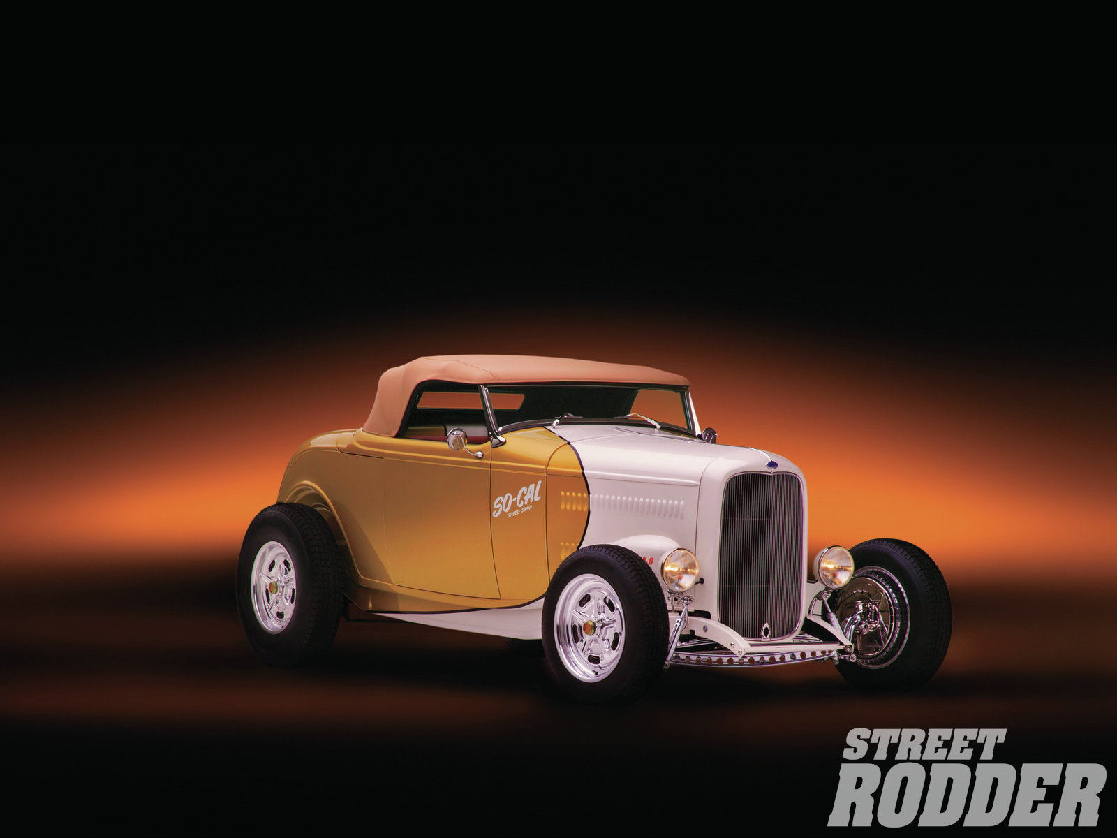 1932 Ford Highboy Roadster retro hot rod wallpaper background