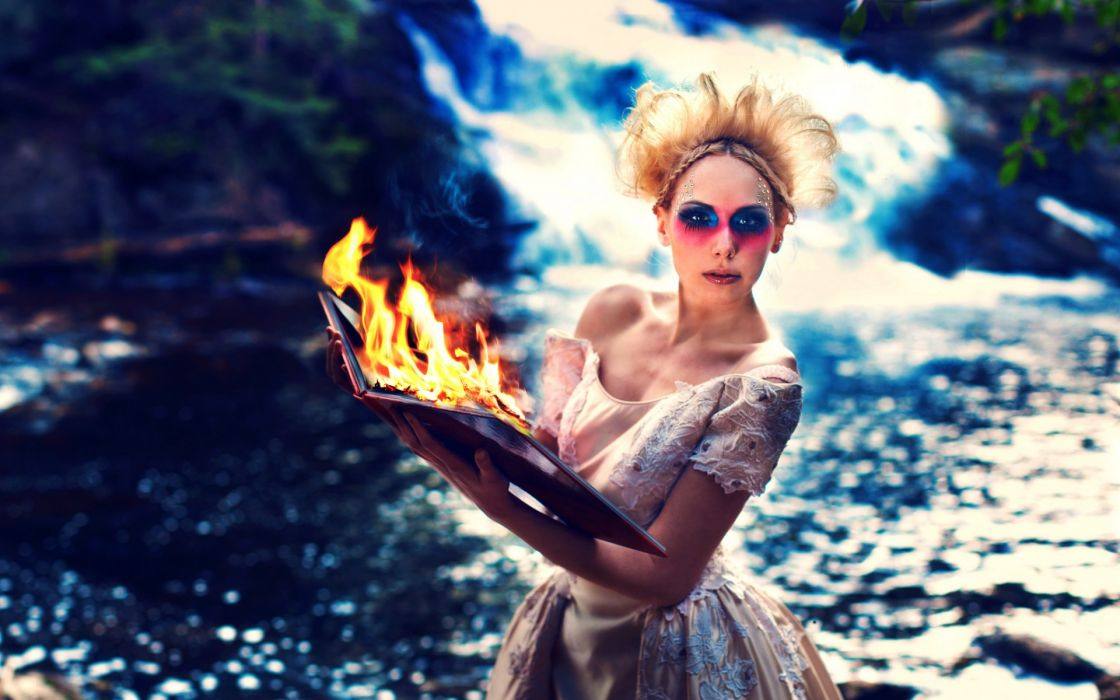 girl  blonde  eyes  book  fire model women females girls water rivers waterfalls face mood situation wallpaper