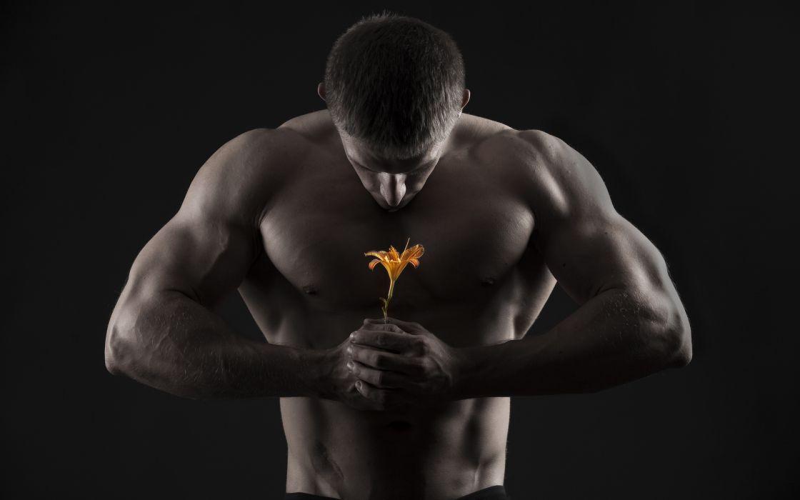 Mushchina muscles Flower men males mood flowers wallpaper