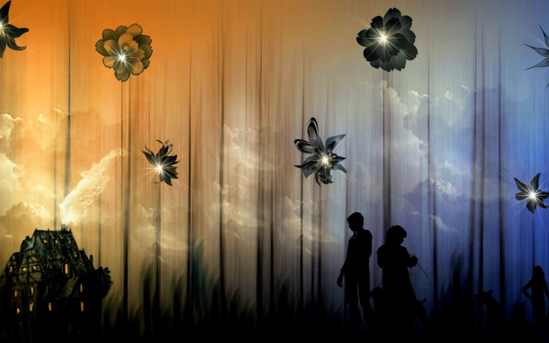 Silhouette fantasy people flowers abstract mood buildings couple wallpaper