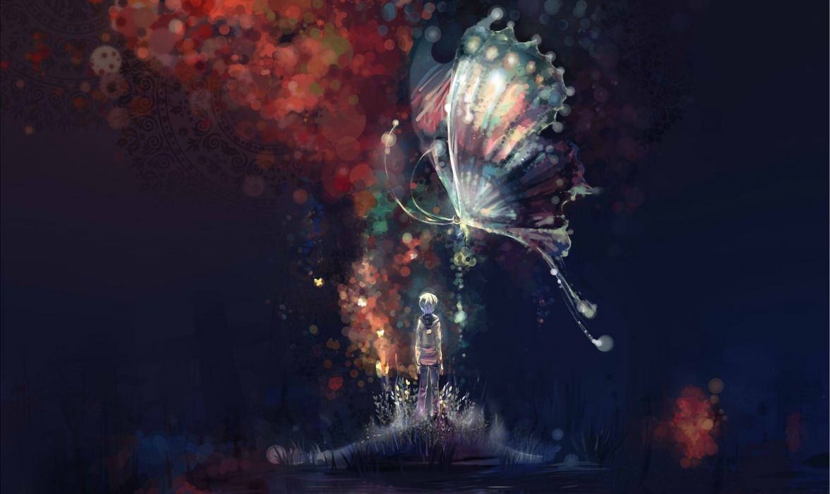 Art Night Abstract Butterfly Boy Island Water Lake Anime Original Wallpaper
